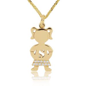 Diamond baby boy girl pendants necklaces 14k gold 005ctw diamond baby girl name pendant aloadofball Images