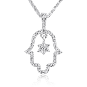 14K Gold 0.25ctw Diamond Hamsa with Star of David Pendant