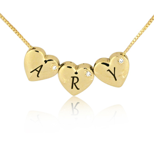 14K Gold 0.01ctw Diamond Heart Name Pendant