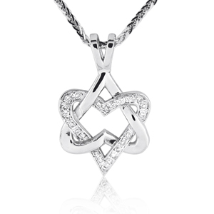 1.5cm 14K Gold 0.11ctw Heart Star of David Pendant