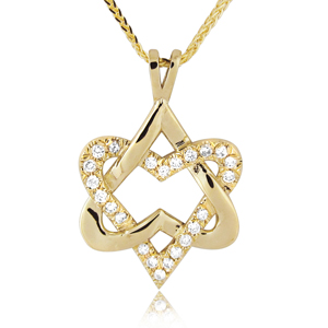 14K Gold 0.23 ctw Two Hearts Star of David Diamond Pendant