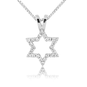 14K White Gold 0.12ctw Tiny Star of David Diamond Pendant for Women