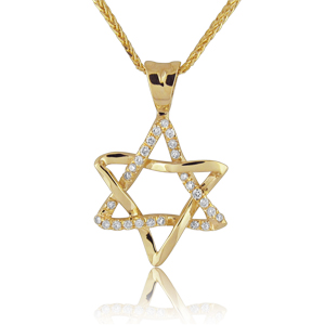 14K Gold 0.13ctw Star of David Diamond Pendant