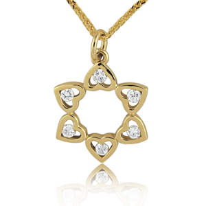 14K Gold 0.18ctw Six Hearts Star of David Diamond Pendant