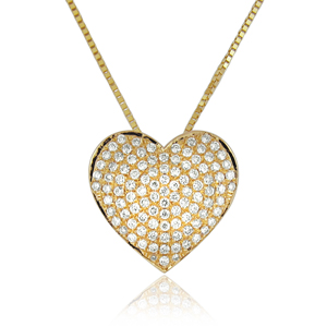 Diamond Heart Pendant 0.50ct with 102 diamonds