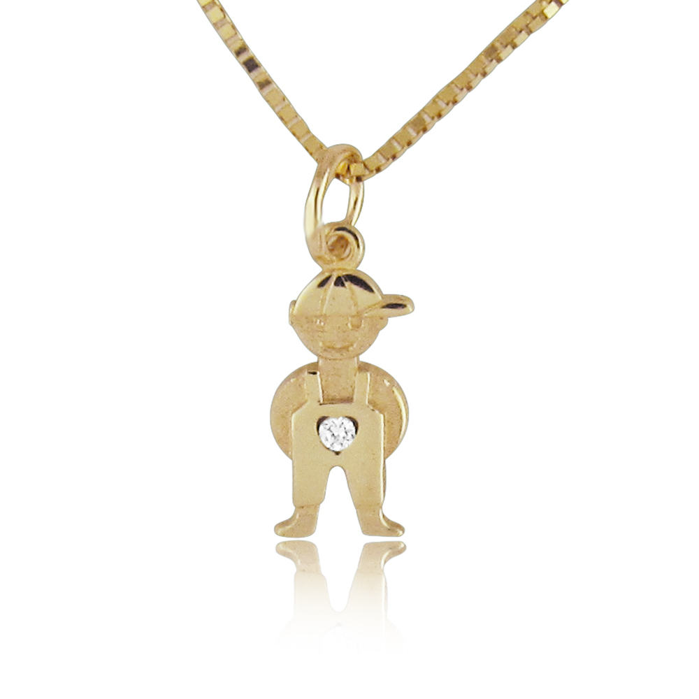 14K Gold 0.01ctw Tiny Diamond Baby Boy Pendant
