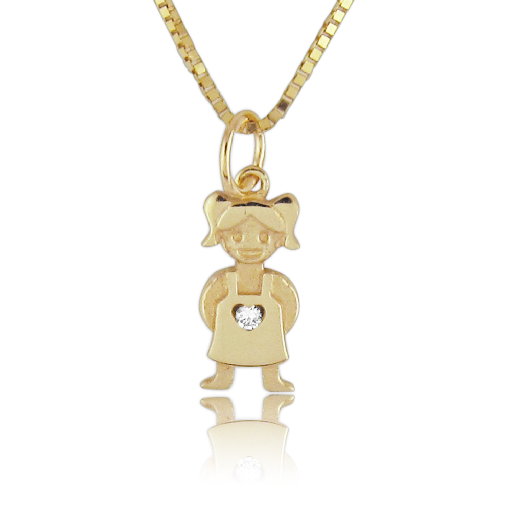 14K Gold 0.01ctw Tiny Diamond Baby Girl Pendant