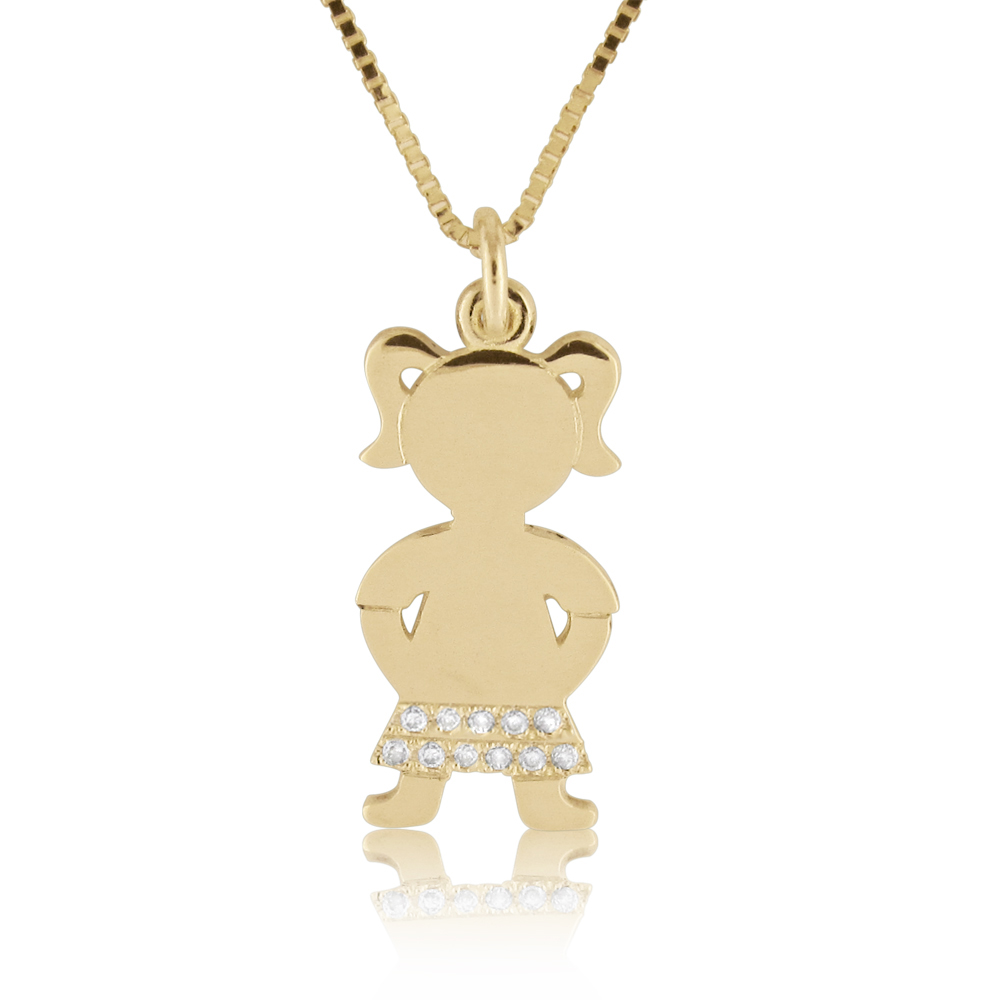 14K Gold 0.05ctw Diamond Baby Girl Pendant