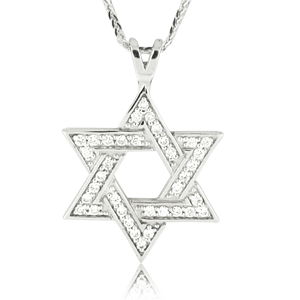 14K Gold 0.36ctw Star of David Pendant