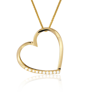 14k Gold, 0.10ct Diamond Heart Pendant