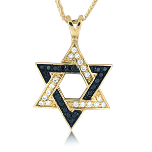 Star Of David - Yellow Gold With 36 Diamonds