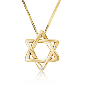 14K Gold 0.01ct Star of David Diamond Pendant