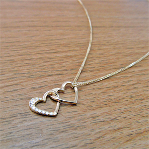 Unique Heart in Heart Diamond Pendant