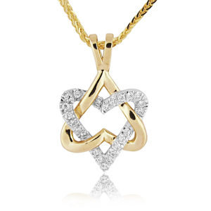 White and Yellow Gold 0.11ctw Star of David Diamond Pendant