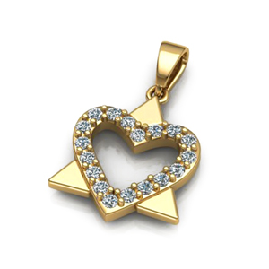 14K Gold 0.33ctw Heart Star of David Pendant - Special Edition!