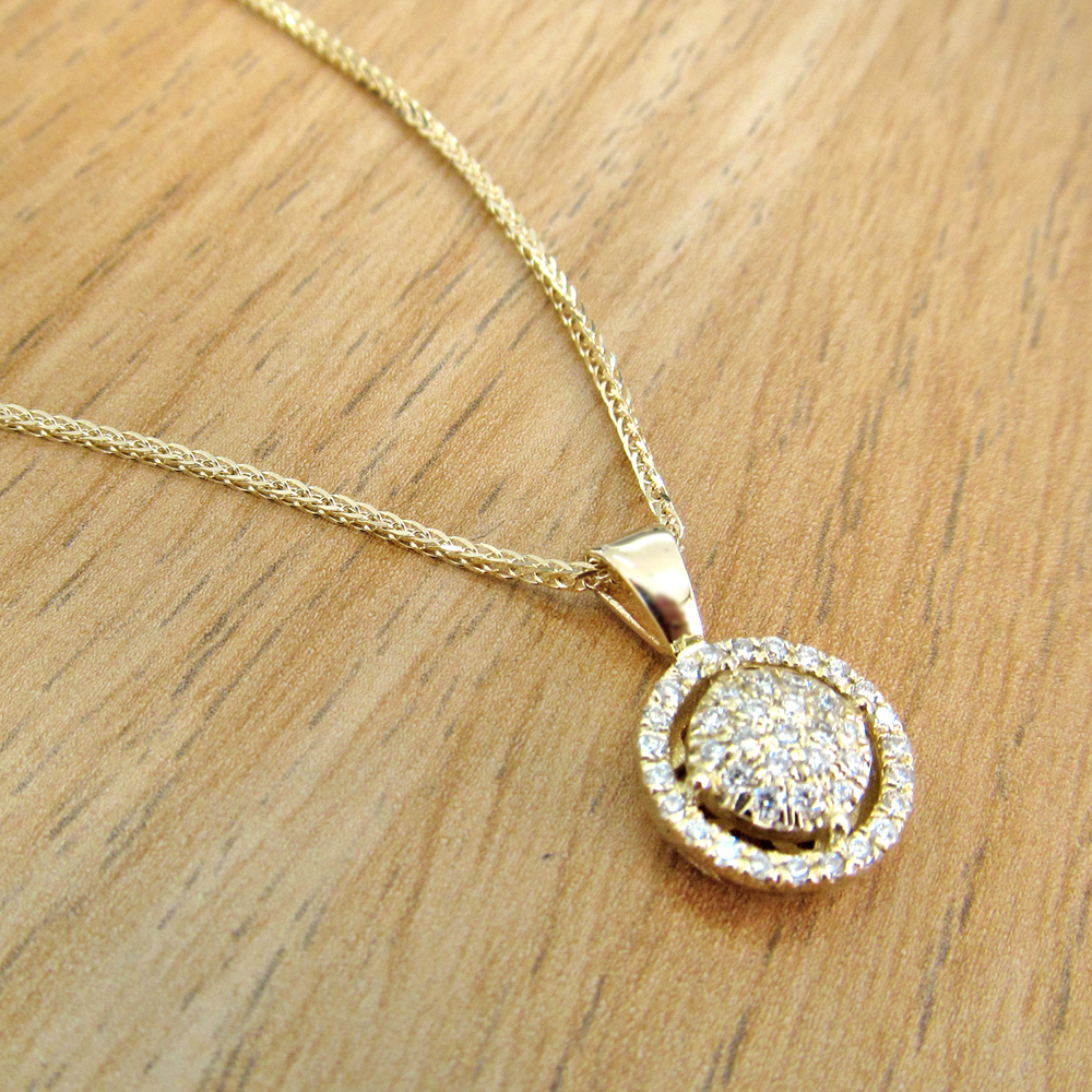 14K Gold 0.20tcw Diamond Halo Pendant