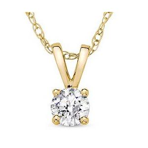 14K Gold 0.10ctw Solitaire Diamond Pendant Necklace