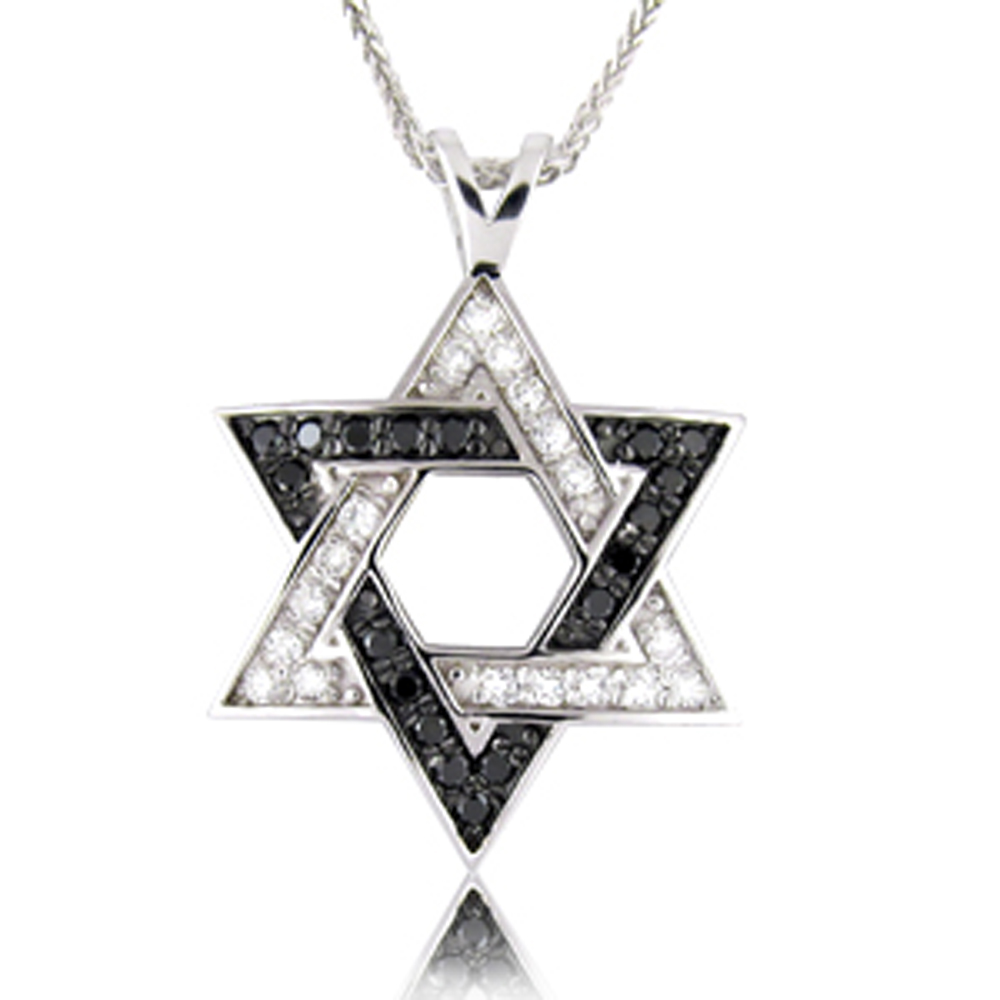 14k gold Star of David  Black and White Diamond 0.36ct  Pendant