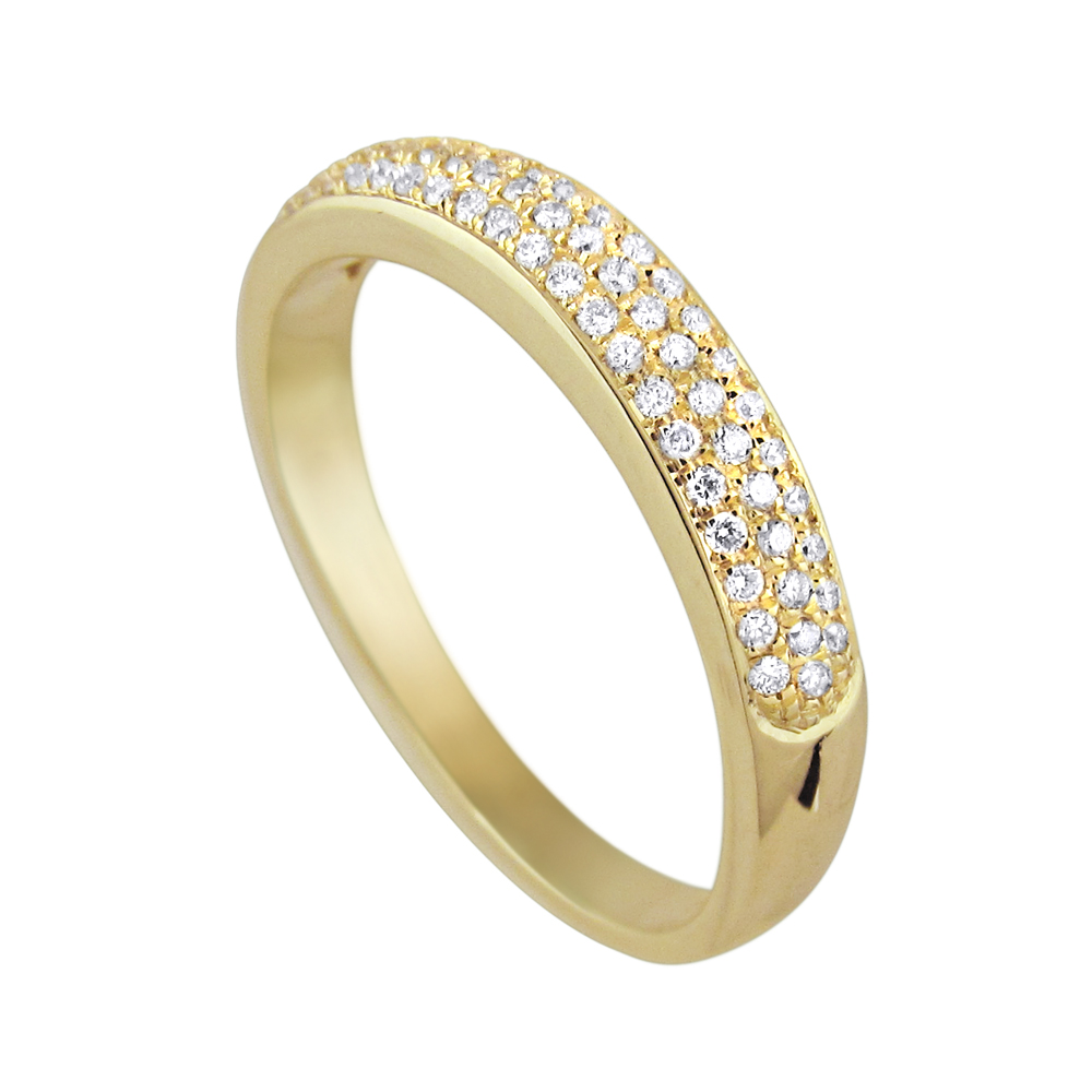 Semi-wedding ring studded with 3 rows of diamonds