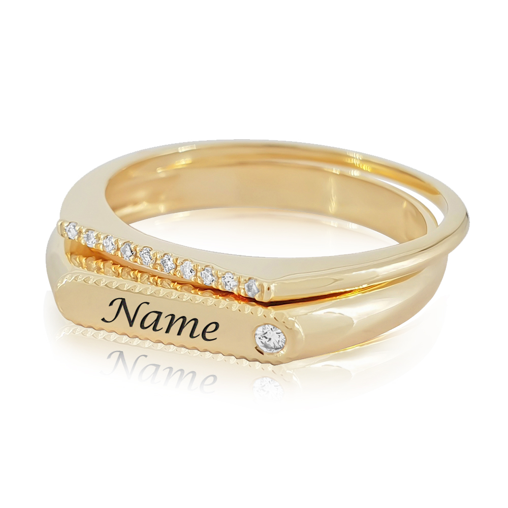 Complete Personalized Name Ring and Diamond Ring Set