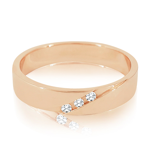 A Rose Gold Ring Studded With Three Diamonds