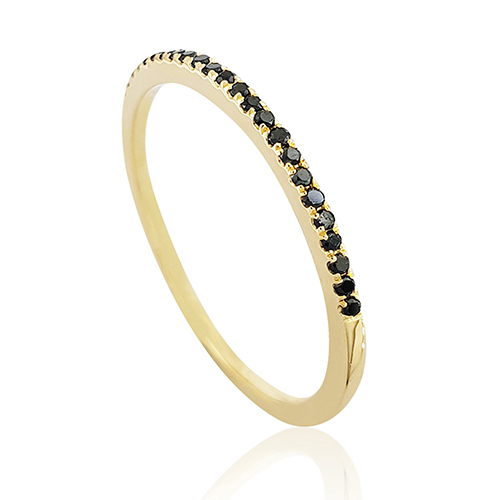14K Gold Ring Studded With 24 Black Diamonds