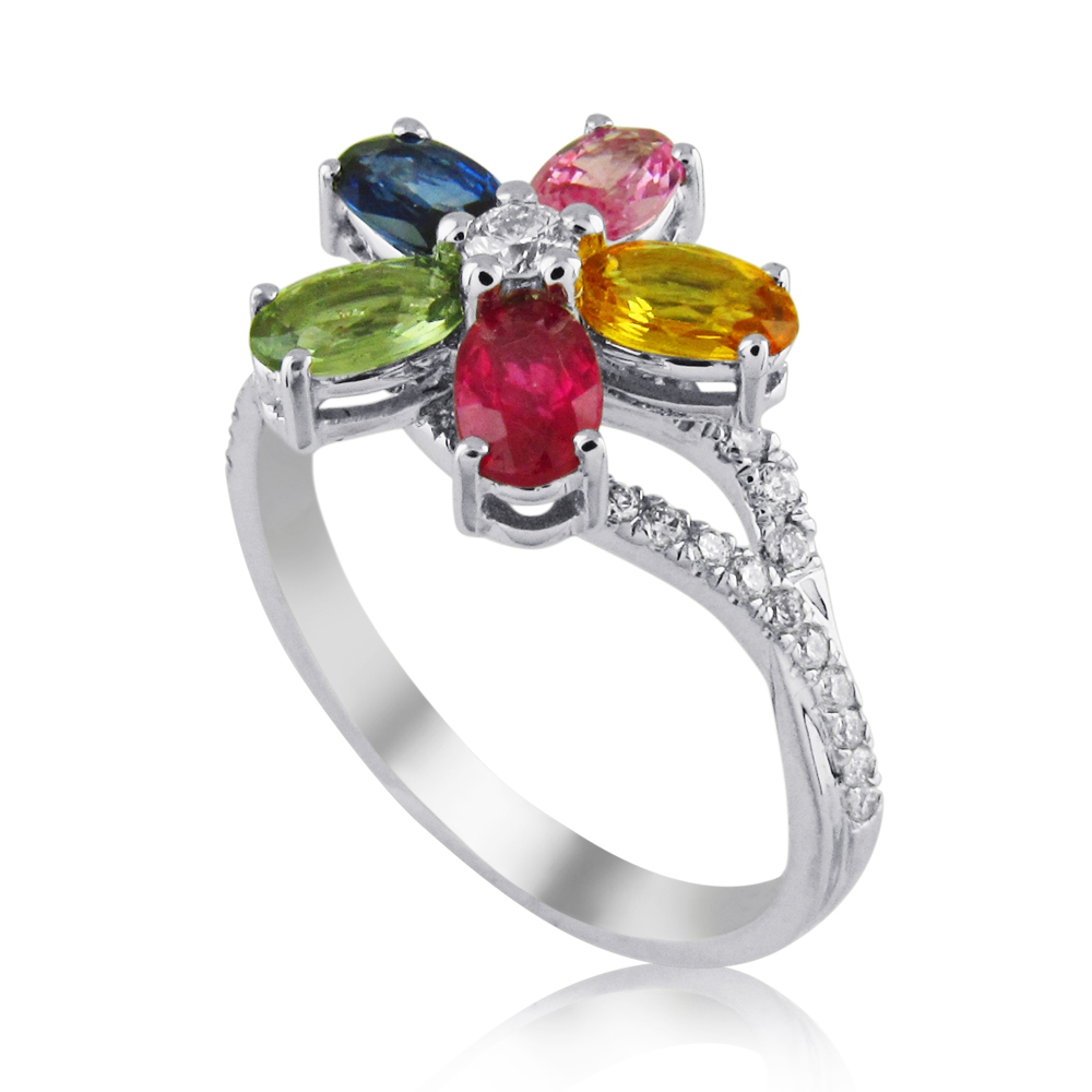 Diamond ring designed with precious stones