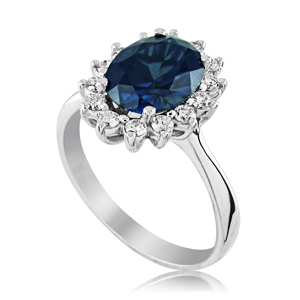 """Diana"" ring studded with blue sapphire stone and 14 diamonds around"