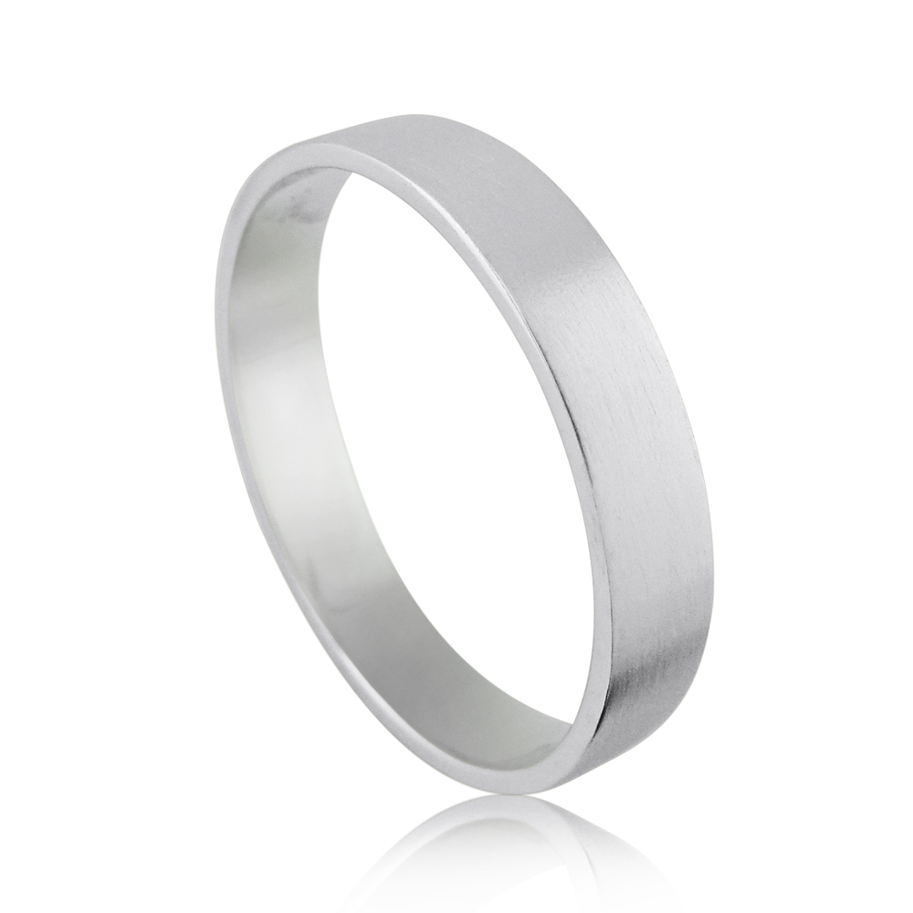 14kt White Gold Matte Flat Wedding Band Ring