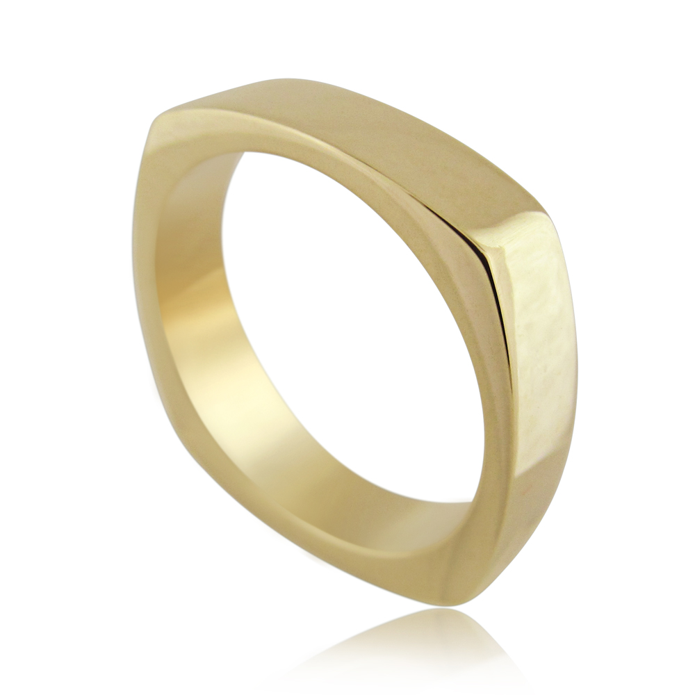14K Yellow Gold Square Wedding Ring