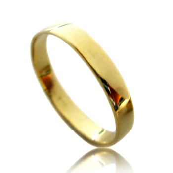 14kt Yellow Gold Shiny Flat Wedding Band Ring