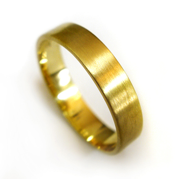 14kt Yellow Gold Brushed Flat Wedding Band Ring