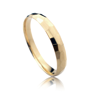 14K Rose Gold Hammer Finished Wedding Band