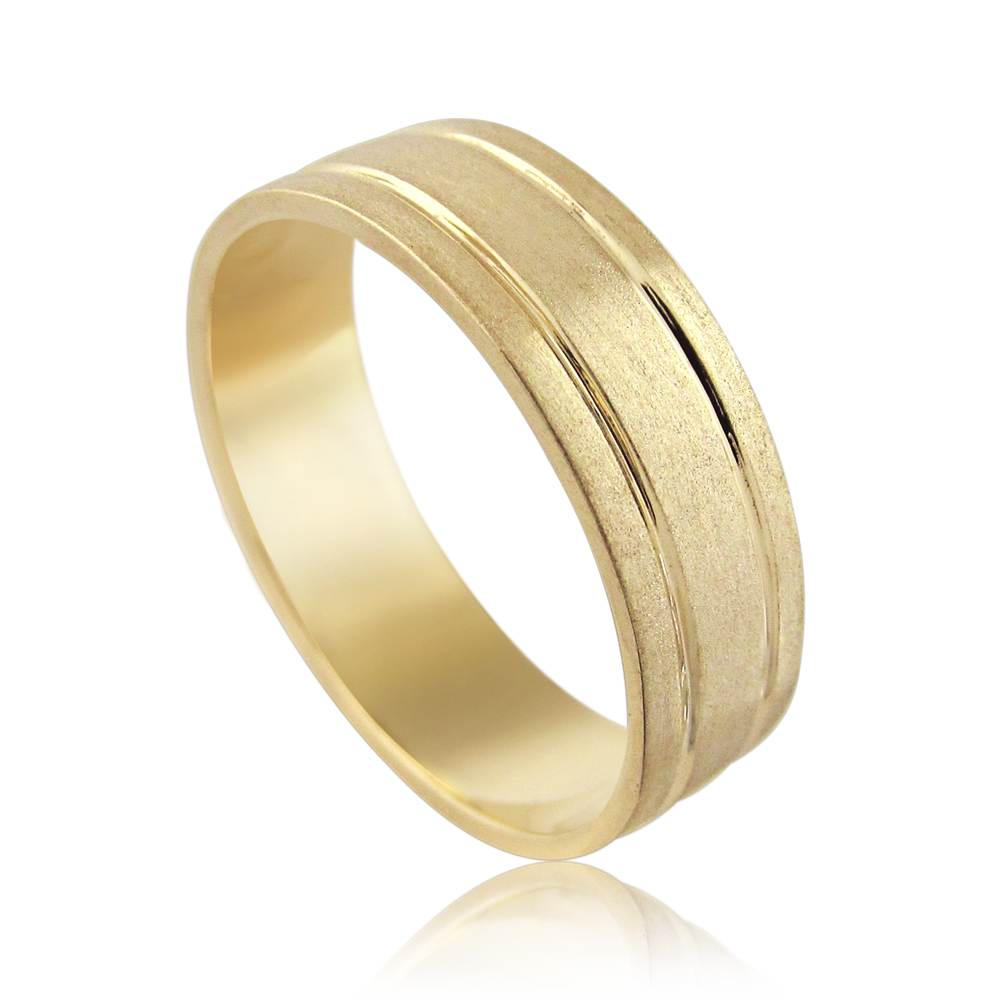 14K Yellow gold designed with tow strips