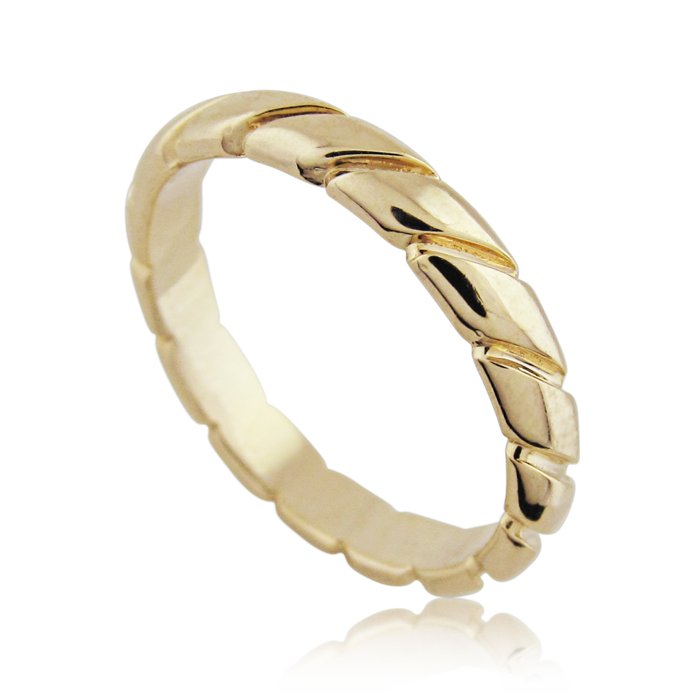 14K Yellow Gold Braided Wedding Ring