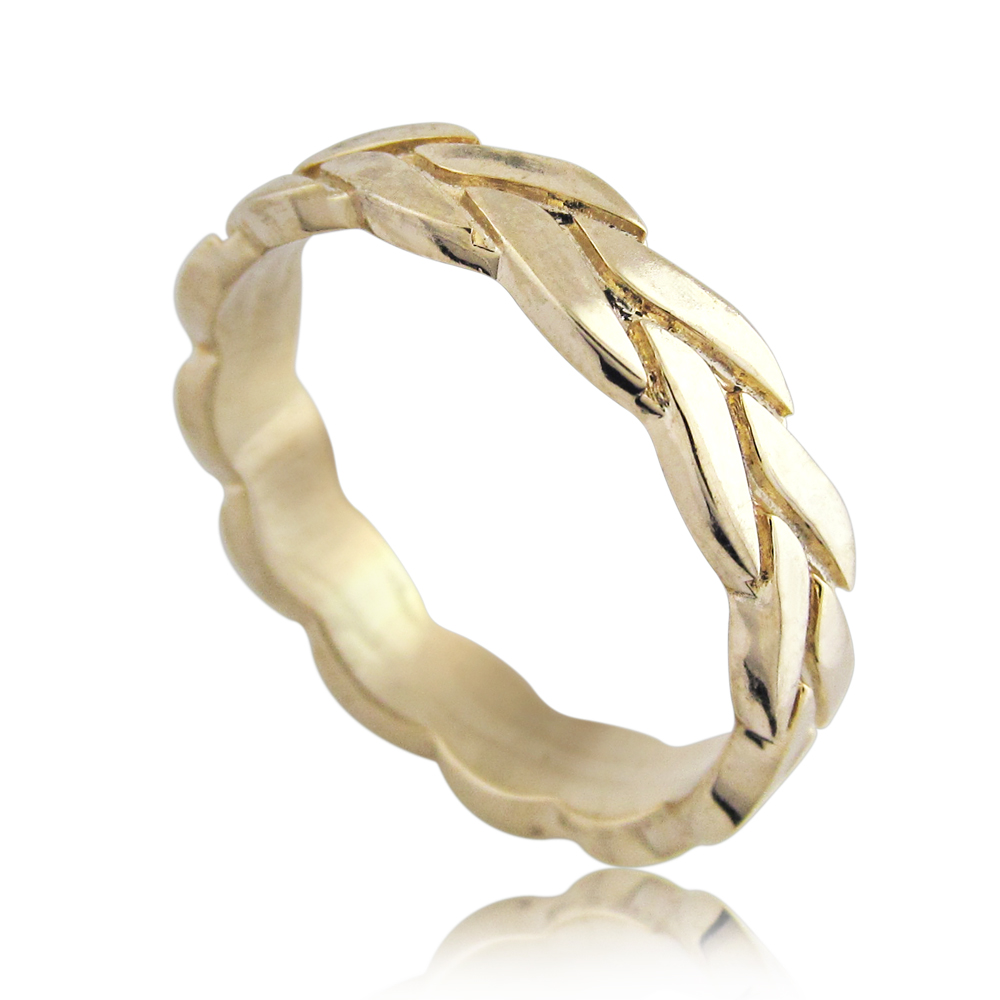 14K Yellow Gold Wheat Braided Wedding Ring