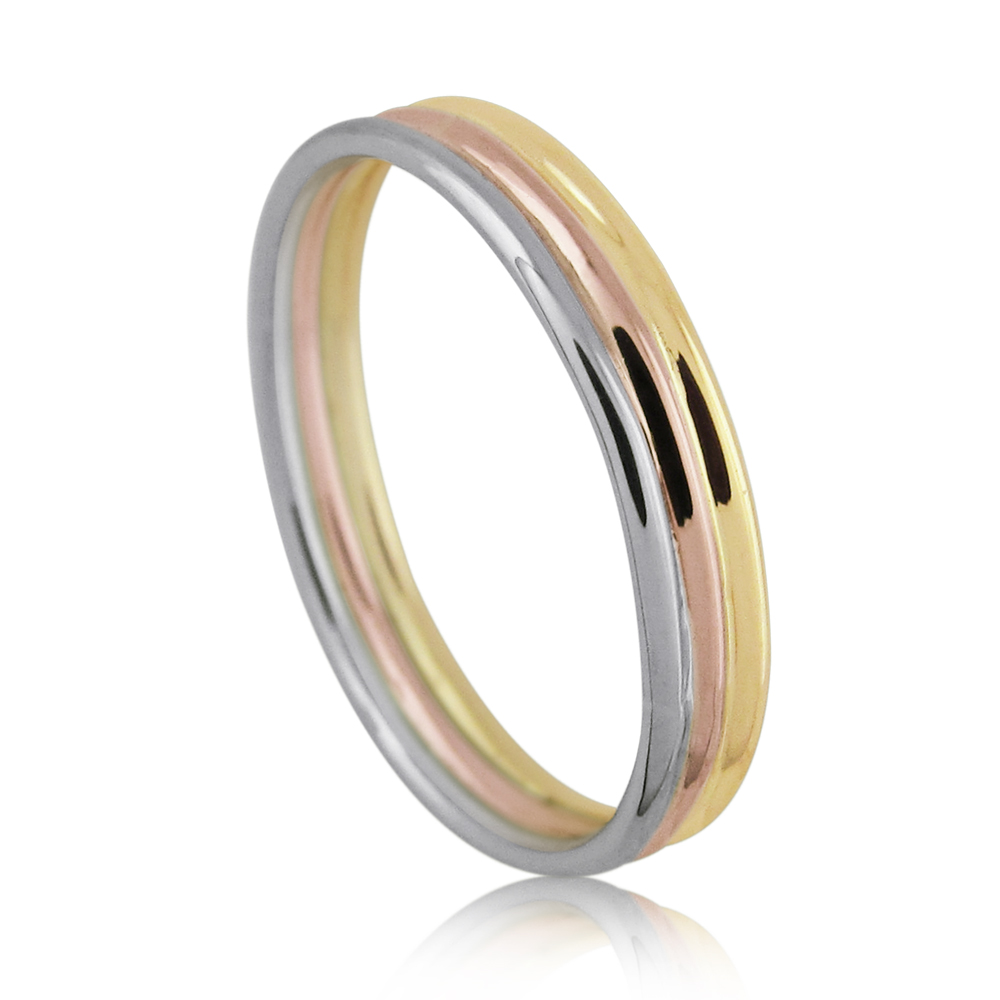 14K Gold Tri-Color Wedding Band