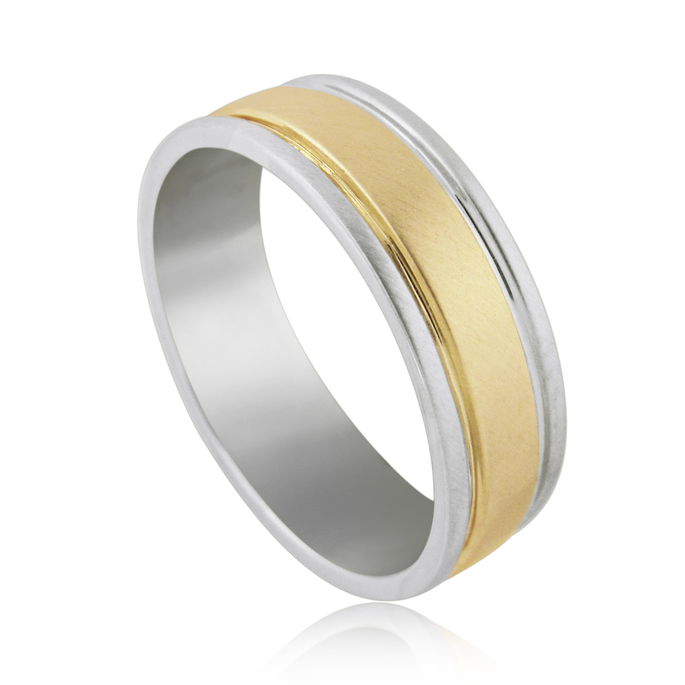 14K Yellow&white gold designed wedding ring for men