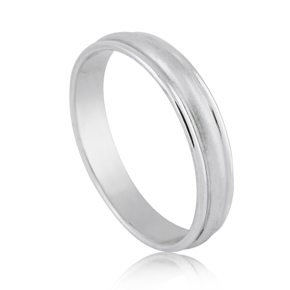 14K White Gold Men's Wedding Band 4mm Brushed Center