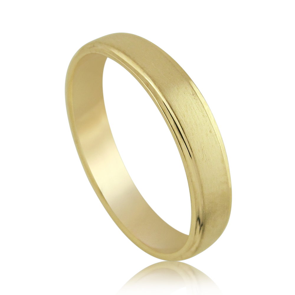 14kt Yellow Gold Brushed & Shiny Classic Wedding Band Ring
