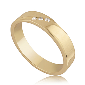 14k Gold, 3 Stone Brilliant Cut Diamond Wedding Ring