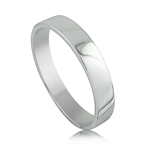 14kt White Gold Shiny Flat Wedding Band Ring